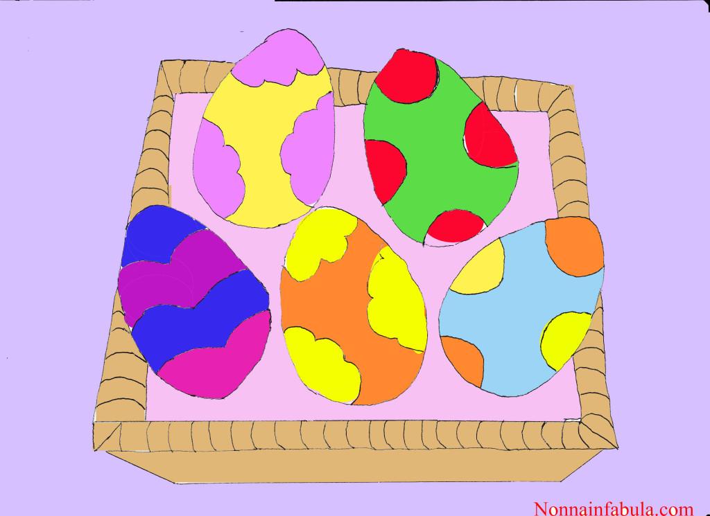 cesto uova colorato