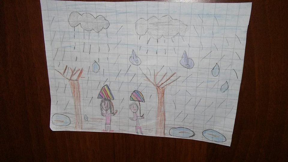 bambina pioggia