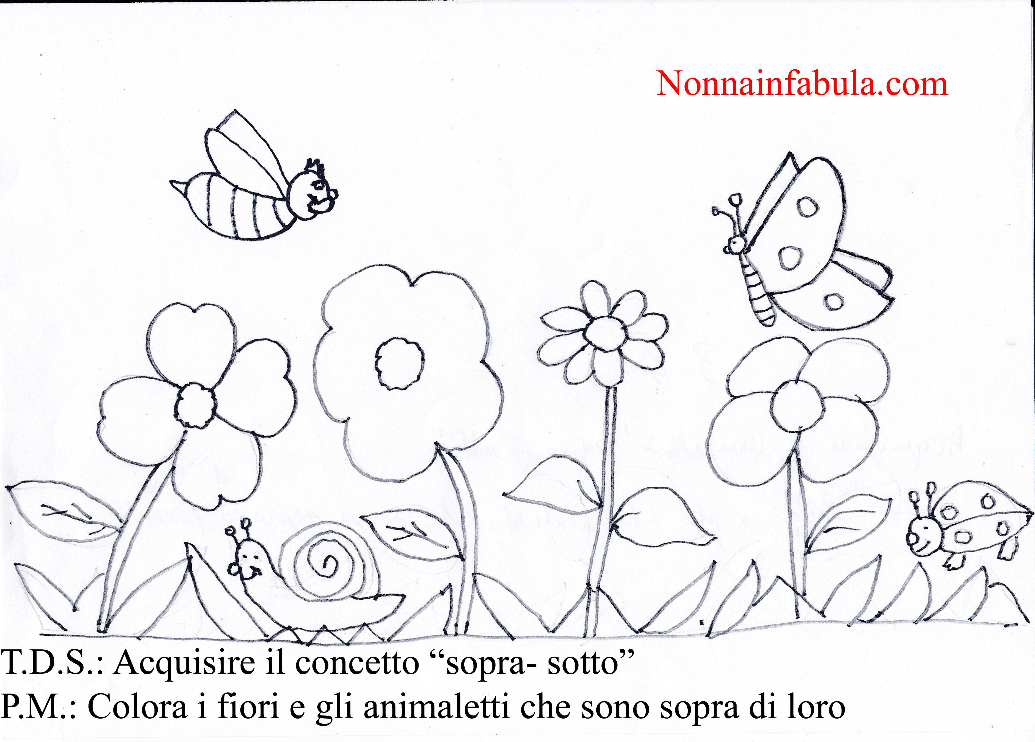 Progetto i fiori per bambini di 3 4 anni nonna in fabula for Fiori da colorare e stampare